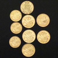 200 - Collection of gold coins 3 x 1/2 sovereigns and 6 full sovereigns.