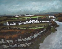 301 - Wilf Roberts, Cottages at South Stack, acrylic.