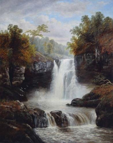 Lot 377-William Mellor, River scene, oil on canvas.