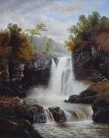 377 - William Mellor, River scene, oil on canvas.