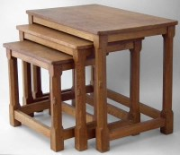 430 - Nest of three Mouseman tables