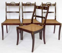 475 - Set of four Collinson & Lock brass chairs.