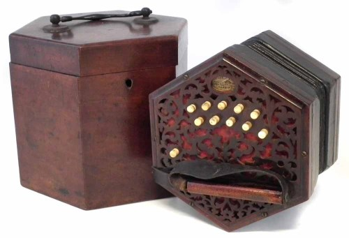 Lot 25-Lachenal cased concertina 21 key.