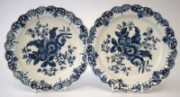 61 - Pair of Worcester plates circa 1770, printed with