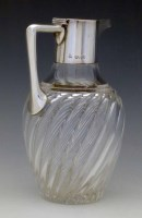 159 - Silver mounted claret jug, cut glass baluster