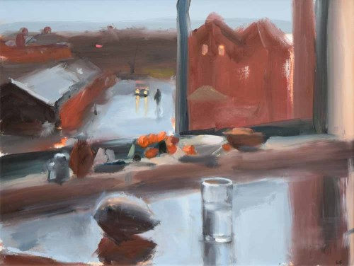 278 - Liam Spencer, Untitled - View from Manchester studio, in Blue, oil.