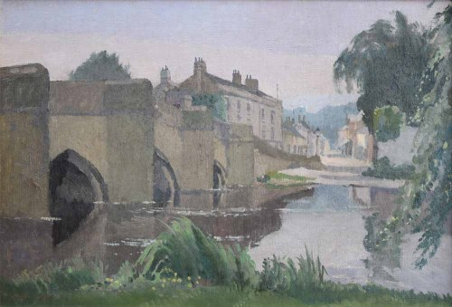 285 - Harry Rutherford, Bridge over a river with village beyond, oil.