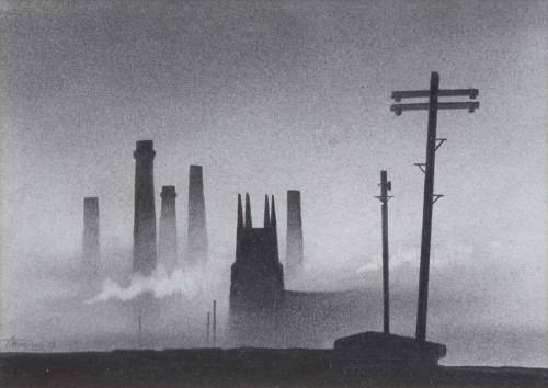 337 - Trevor Grimshaw, Church and Chimneys, graphite.