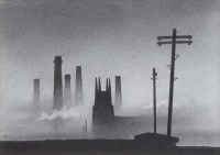 337 - Trevor Grimshaw, Church and Chimneys, graphite.