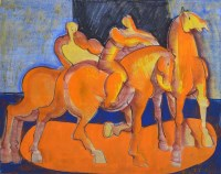 339 - Geoffrey Key, Horses and Riders, mixed media.