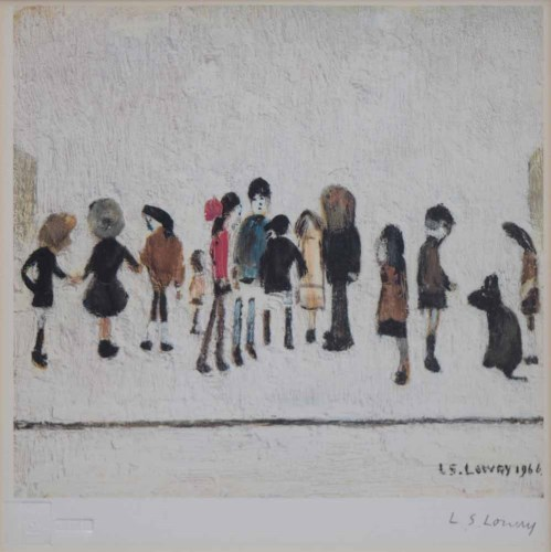 384 - After L.S. Lowry, Group of Children, signed print.