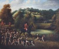 413 - Herbert St. John Jones, The Cheshire Hunt at Beeston Castle, oil.