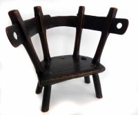 493 - Late 18th century Welsh oak and ash primitive five legged yolk back child's arm chair.