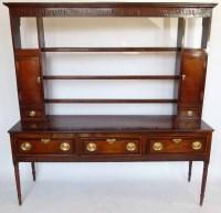 498 - 18th century oak dresser with rack.