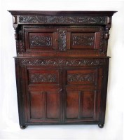 505 - Early 18th century oak court cupboard,