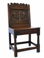 517 - 17th century oak back stool,