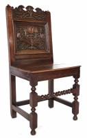 518 - 17th century oak back stool,