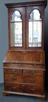 529 - 18th century Queen Anne walnut bureau bookcase.