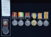 53 - National Fire Brigades Union Long Service medals and another family group of medals.