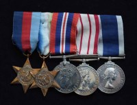 55 - A World War II Royal Navy group of five medals awarded to MX.122739 D.F.W. WELCH. S.P.O. H.M.S. BELLEROPHON.