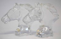 93 - Pair of Baccarat horse heads.