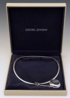 283 - George Jensen sterling silver neck ring with rock