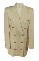 Lot 374-Escada white cashmere jacket with gold buttons.
