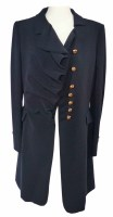 Lot 376-Moschino navy blue coat with gold buttons.