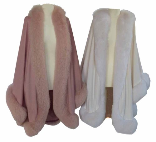 Lot 381 - Two jackets one pink and one white with fur trim