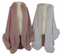 Lot 381-Two jackets one pink and one white with fur trim