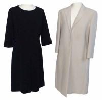 Lot 382-Hugo Boss long white jacket and a Hugo Boss black dress