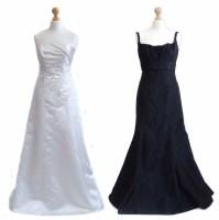 Lot 410-2 full length formal dresses, one white
