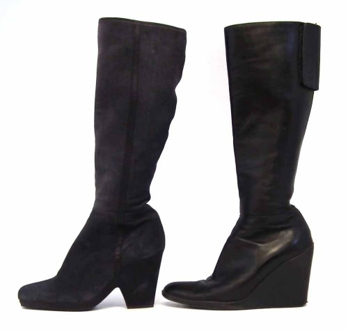 Lot 422 - Two pairs of calf length Prada heeled boots