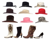 Lot 430 - Four pairs of western style leather boots, shoes and hats