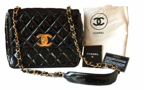 Lot 444 - Chanel black leather patent quilted classic (1994-1996) shoulder bag with flap