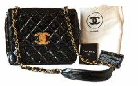 444 - Chanel black leather patent quilted classic (1994-1996) shoulder bag with flap,