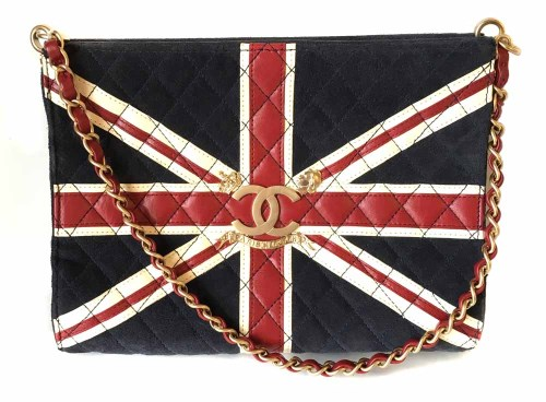Lot 445 - Chanel union jack quilted suede and leather bag (2008-2009)