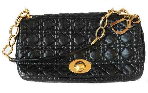 Lot 446 - Christian Dior shoulder bag, soft black cannage pattern quilted leather