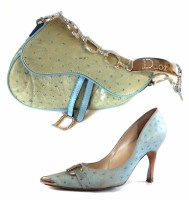 Lot 447 - Christian Dior ostrich saddle bag and matching shoes