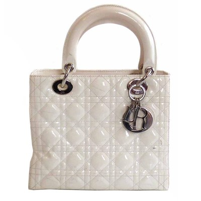 Lot 452 - Christian Dior patent white leather cannage pattern 'Lady Dior' bag