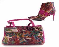 Lot 456 - Gina pink floral bag and matching boots