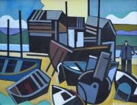 498 - Peter Stanaway, Boathouses, Seahouses, Northumberland, acrylic.