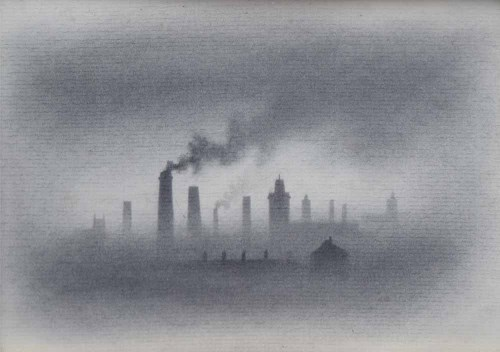 Lot 581-Trevor Grimshaw, Smoke, graphite.