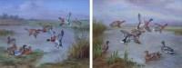 621 - Edgar Hunt, Mallards taking flight from and landing on a riverbank, oil (2).