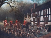 623 - Herbert St John Jones, The South Cheshire Hunt at The Star Inn, Acton, Nantwich, oil.