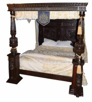 744 - Jacobean style four poster bed,