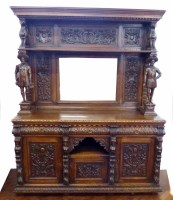749 - Mid 19th century continental carved and stained oak side cabinet,