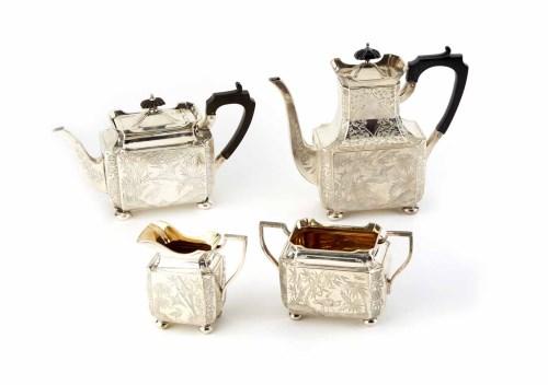 Lot 177 - Silver 4-piece tea and coffee set