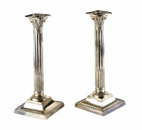 Lot 178-Pair of Corinthian column candlesticks