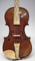 45 - Baroque violin by A.E. Fowler with case bow,